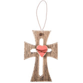 Natural Heart Wood Wall Cross